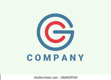 """Flat vector logo element with illustration of human or children and power button forming initials """"G"""" and """"O"""" or """"G"""" and """"C"""". Usable for Technology logos, Application and general business logos"""