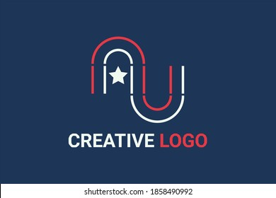 """Flat vector logo element with outline american flag pattern forming initials """"N"""" or """"AN"""" or """"AU"""" or """"AL"""". Usable for general technology and business logo elements."""