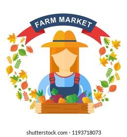 Flat vector Logo farm store or market. Woman farmer holds in her hands a box with vegetables, an autumn harvest of fields and vegetable gardens. Natural products, healthy food, agro-industrial farms.