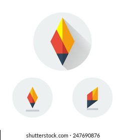 Flat vector logo variants of minimalistic fire torch, pen or pencil like rhombus with long shadow. Fire torch logo eps. Simple geometric illustration for basic elements of corporate identity.