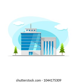 Flat vector modern building from glass and concrete colorful illustration. City house, apartment, residential object on isolated white background