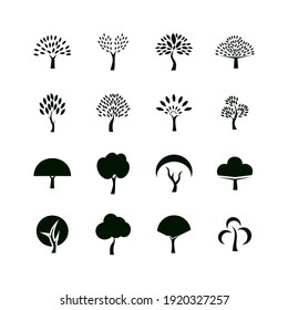 flat vector oak tree icon set. Tree icons set in a modern Pictogram style and flat style.