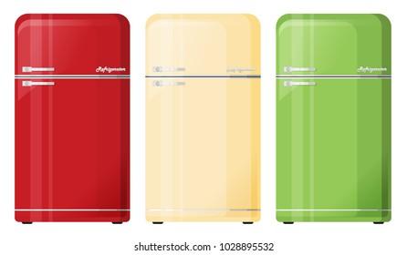 Flat vector old refrigerator