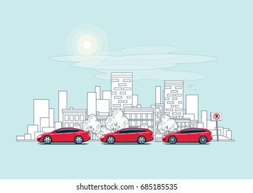 Flat vector outline style illustration of urban landscape street with cars, skyline city office buildings, family houses in small town and mountain in background. Traffic on the road. Wide panorama.