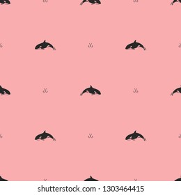 Flat vector pattern - Orca killer whale