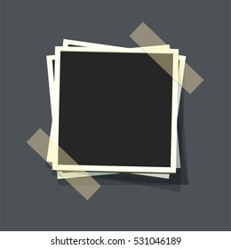 Flat vector photo frames on transparency duct tape. Template photo design.Vector illustration in simple style for design and flat motion design