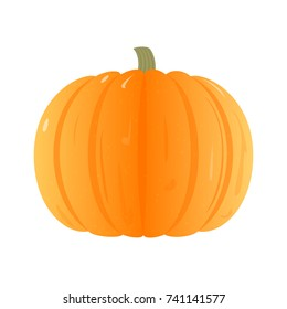Flat Vector Pumpkin Isolated on White Background. Ripe Orange Pumpkin. Vector Illustration.