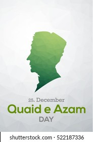 flat vector of quaid e azam with polygon background