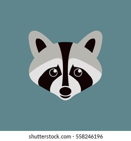 Flat vector raccoon isolated on blue background.