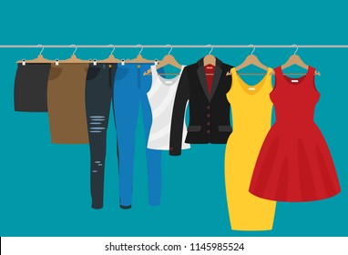 Flat vector racks with clothes on hangers