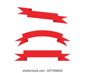 Flat vector ribbons banners flat isolated on white background
