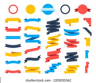Flat vector ribbons banners flat isolated on white background, Illustration Set of ribbons. Ribbons icons collection