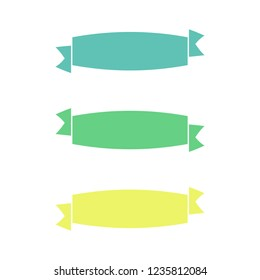 Flat vector ribbons banners flat isolated on white background, Illustration set of colorful tape