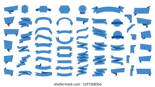 Flat vector ribbons banners flat isolated on white background, Illustration Set of ribbons. Ribbon vector