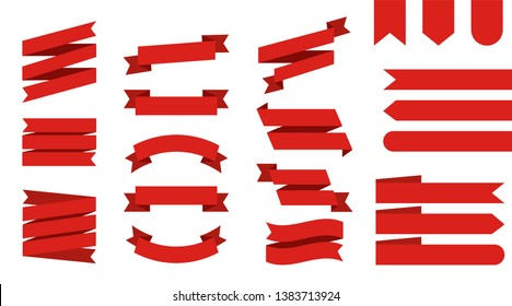 Flat vector ribbons banners isolated background. Ribbon red colored. Set ribbons or banners. Vector illustration