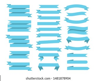 Flat vector ribbons banners isolated background. Ribbon blue colored. Set of ribbons or banners. Vector illustration