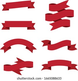 Flat vector ribbons banners isolated background. Ribbon red colored. Set ribbons or banners.