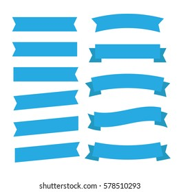 Flat vector ribbons banners flat isolated. Ribbons banners