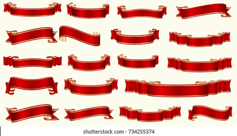 Flat vector ribbons banners flat isolated on white background, Illustration set of red tape.