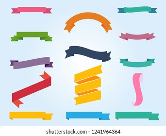 Flat vector ribbons banners with simple background. Vector Illustration