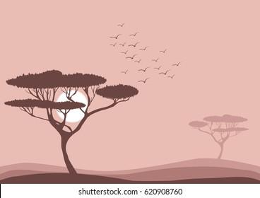 flat vector savannah landscape illustration, flying birds and acacia trees