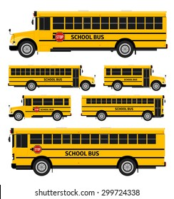 Flat vector school buses in two sides view