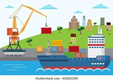 Flat vector sea port