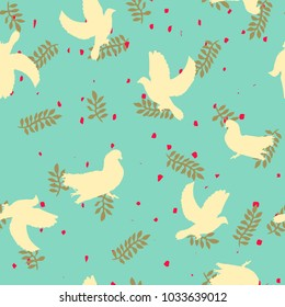 Flat vector seamless pattern  - Dove of Peace
