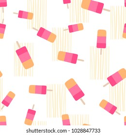 Flat vector seamless pattern - ice cream