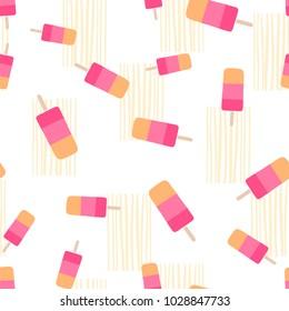 Flat vector seamless pattern - ice cream