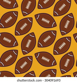 Flat Vector Seamless Sport and Recreation American Rugby Football Pattern. Flat Style Seamless Texture Background. Sports and Playing Game Template. Healthy Lifestyle. Ball
