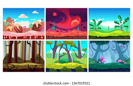 Flat vector set of 6 colorful horizontal backgrounds for mobile or computer game. Sweet land and jungles. Cartoon fairy tale landscapes