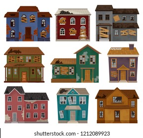Flat vector set of abandoned houses with broken roof, boarded up windows and doors. Two-storey buildings. Architecture theme