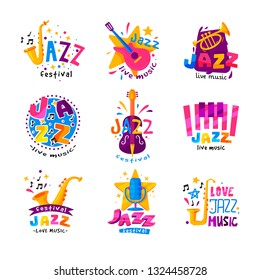 Flat vector set of abstract logos for jazz festival. Bright creative emblems with musical instruments and colorful text