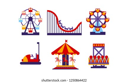 Flat vector set of amusement park elements. Funfair attractions and carousels. Entertainment theme