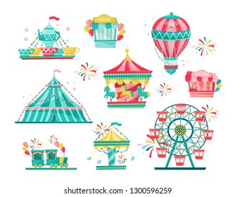 Flat vector set of amusement park equipment. Carnival carousels, ticket booth and ice-cream stall. Entertainment theme