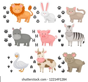 Flat vector set of animals and heir footprints. Domestic and wild creatures. Funny cartoon characters. Elements for children book