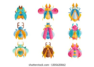 Flat vector set of beetles with bright wings, horns and paws. Colorful flying insects. Flaticons with gradients and texture for poster, print, notebook cover