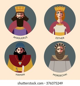Flat vector set, bible icons characters for Jewish Religion Holiday Purim, puppets with costumes, traditional symbols, Haman, Mordechai, Queen Esther and Persian King Ahasuerus, The scroll of Esther
