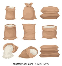 Flat vector set of burlap sacks with rice or flour. Large textile bags. Agricultural product. Elements for promo poster or banner