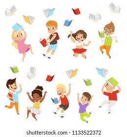 Flat vector set of cartoon children characters jumping and throwing books up in the air. Happy pupils of elementary school