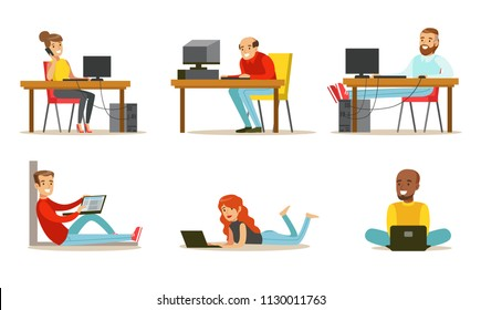 Flat vector set of cartoon peoples with laptops and computers. Men and women working in internet, playing video games or chatting