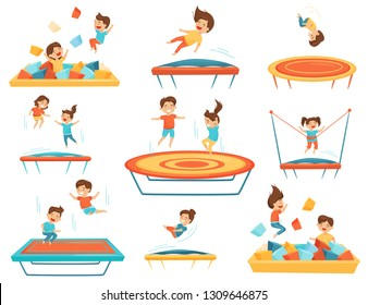 Flat vector set of children jumping on trampolines and playing in pool with soft paralon cubes. Kids leisure