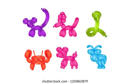 Flat vector set of colorful animal-shaped balloons. Bright inflatable toys for children party