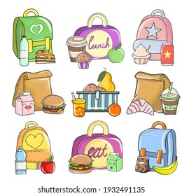Flat vector set of colorful compositions with school food. Healthy and nutritional food meals for kids breakfast in lunchbox plastic fruit bags of apples.