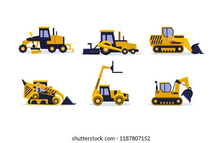 Flat vector set of colorful construction vehicles. Excavator, wheel loader, bulldozer, grader. Heavy equipment for building