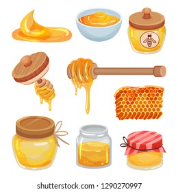 Flat vector set of colorful honey icons. Organic and healthy product. Natural sticky liquid. Sweet food
