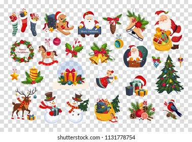 Flat vector set of colorful items related to Christmas and New Year theme. Santa Claus, toys, gifts and tree. Elements for greeting cards