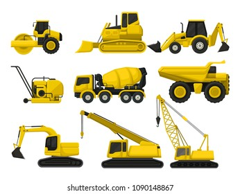 Flat vector set of construction equipment. Special machines for building. Road roller, bulldozer, concrete mixing truck, crawler crane