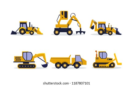 Flat vector set of construction equipment. Excavator, backhoe loader, rock truck. Heavy machinery for building